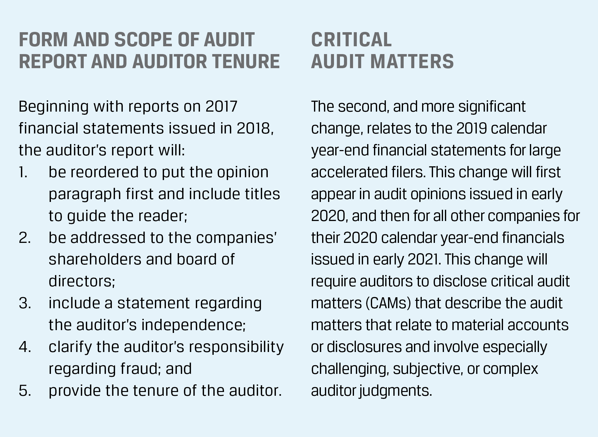 Form and Scope of Audit Report and Auditor Tenure
